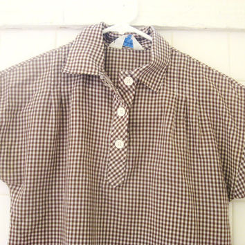 Gingham Shirt - Brown and White - Checked - Western