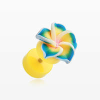 A Pair of Hawaiian Plumeria Flower Acrylic Fake Plug