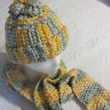 Knitted Scarf and Crochet Hat Set in Multi Color in Yellow and Greens made with Thick Yarn Scarf has a Chained Fringe
