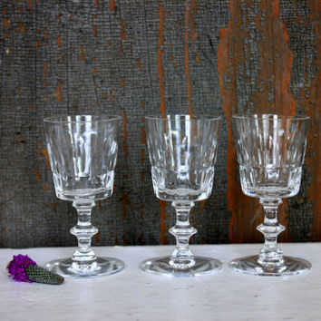 vintage crystal cordial glasses // 'thumbprint' and cut glass pattern // antique stemware barware // set of 3