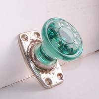 Vintage Green Glass Door Handle Door Knob Home by RarityFromAfar