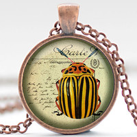 Cucumber Beetle Necklace, Altered Art Cucumber Beetle Pendant, Cucumber Beetle Jewelry, Awesomely Scary Bug Charm (435)