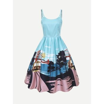 Graphic Print Zip Back Flare Dress