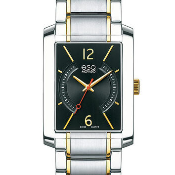 ESQ Movado Mens Synthesis Two-Tone Watch - Black Dial with Gold-Tone Accents