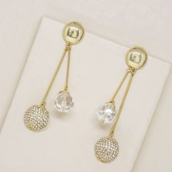 Shimmer Ball Drop Earrings in Gold and Clear Resin