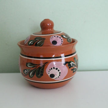Vintage Soviet Russian Ceramic, Brown Pottery Jar, Ceramic Sugar Pot, Basin Bowl, Floral Dish, Ceramic Folk Art Bowl, USSR
