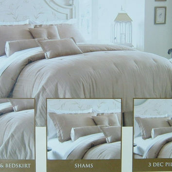 11pc Luxury Oversized 300TC Striped Alternative Down Comforter Set Taupe Size: Queen Sheet Set Color: Gold