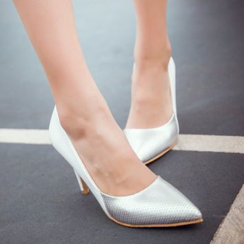 Lovely Unique Style Point Toe Low Heels