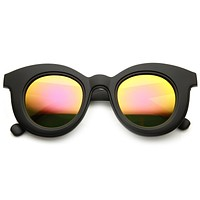 Women's Round Cat Eye Mirrored Lens Sunglasses 9584