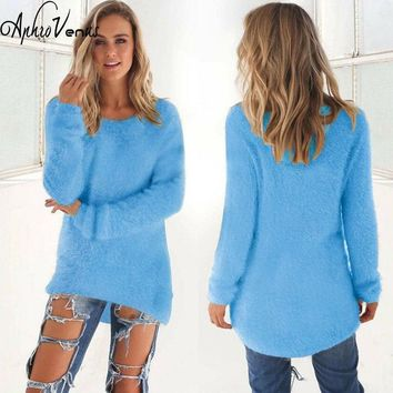 Women Casual Winter Autumn Sweaters Lady long Sleeve Crewneck Jumper Thin Casual Knitted Sweater Dress Solid Vestidos Mujer