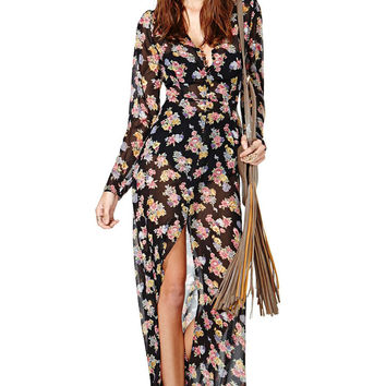 Floral Chiffon V-Neck High Waisted Long Sleeve Maxi Dress