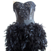NYE Corset Burlesque Dress with Boa Feathers and by CGHeaven