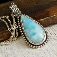 Western Larimar Pendant Sterling Silver Gemstone Necklace