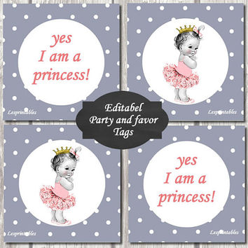 EDITABEL-Princess Baby Shower baby princess Cupcake Toppers Printable Party baby girl  DIY Party Toppers girl gray dots baby favor tags