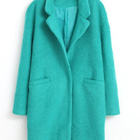Blue Lapel Neck Long Sleeve Woolen Coat
