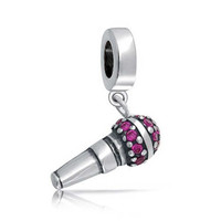 Christmas Gifts Pink CZ Microphone Dangle Charm Music Bead 925 Sterling Silver Fits Pandora