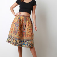 Floral Suede Pleated A-Line Midi Skirt