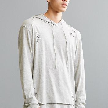 Destructed Double Layer Hooded Long Sleeve Tee | Urban Outfitters