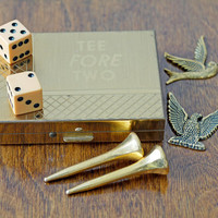 "Vintage Novelty Golf Set // Vintage ""Tee Fore Two"" Golf Gift Set"