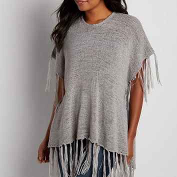 fringed poncho with open stitching | maurices