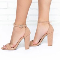Classy Suede Heels in Taupe
