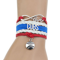"""CUBS""Red+White+Blue Multi-Strands Infinity Silver Color Charm Leather Bracelet Bangle For Women Fashion Jewelry"