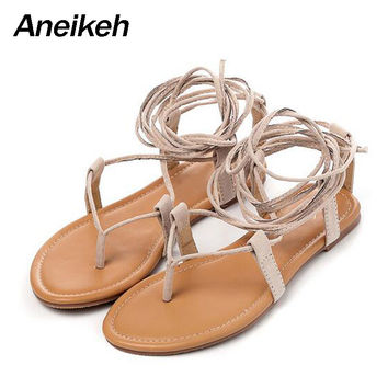 Summer Roman Sandals Multiple Cross-Strap tall knee high Bondage Thong Nubuck Women Sandals Flip flops Black Apricot Brown