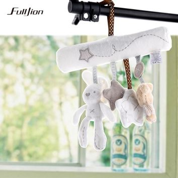Fulljion Baby Rattle Rabbit Toys Music Doll Bed Bell For Stroller Infant Multifunctional Hand Bell Plush Educational Mobile Toys