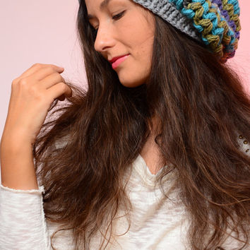 Multicolor crochet beanie hat, Gray Slouchy hat, Crochet hat, Merino beanie, blue beanie hat, wool hat, winter wool hat, Gift for sister