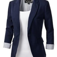 J.TOMSON Womens Tailored Boyfriend Blazer NAVY MEDIUM
