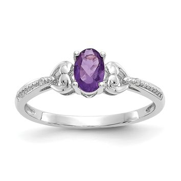 10k White Gold Genuine Oval Amethyst Diamond Accents Hearts Ring