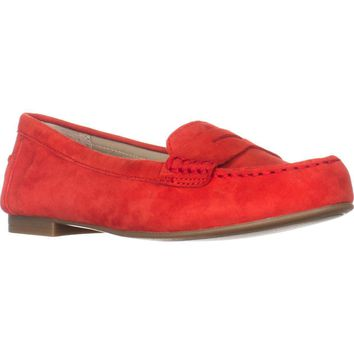 White Mountain Markos Casual Penny Loafers, Chili Red Suede, 8.5 US