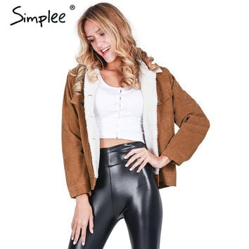 Simplee Black vintage lambswool jacket coat Winter warm long sleeve corduroy jacket Women autumn hairly collar female overcoat