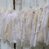 Garland white cream shabby chic lace and ruffles wedding or home decor fabric Anita Spero