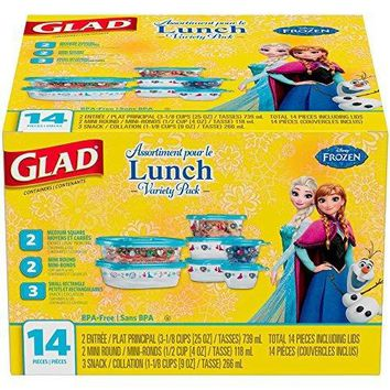 Extra Sturdy Tight Sealing Microwave Safe Glad Disney Frozen Food Storage Containers, Variety Pack, 14 pc, BPA Free