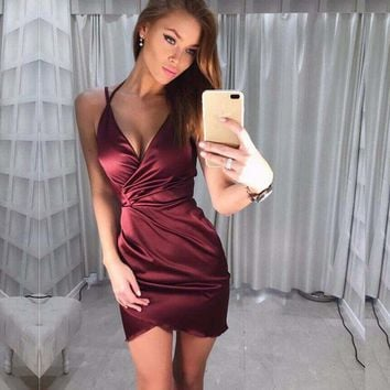 Deep V-neck Spaghetti Straps Solid Color Irregular Short Dress