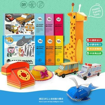 Children origami book DIY paper puzzles/3D cartoon vehicle animal cardboard puzzles for Kids learning educational toys GYH