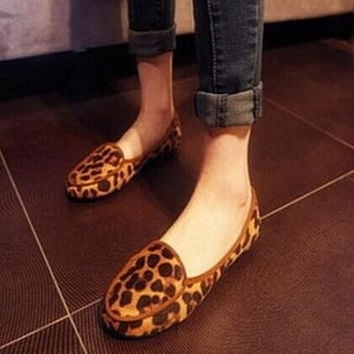 fashion leopard print Moccasins female comfortable maternity flat shoes heel single casual shoes = 1946555396