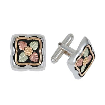 Black Hills Gold Sterling Silver Leaf Cuff Links