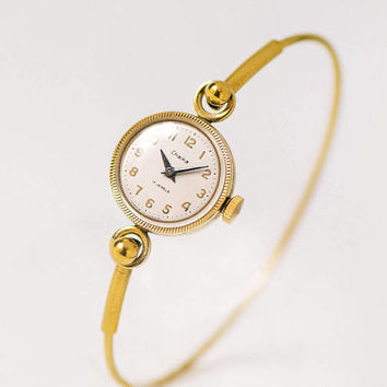 Gold plated watch bracelet Seagull. Vintage delicate cocktail watch. Evening watch classic jewelry. Tiny lady watch gift small wrist watch