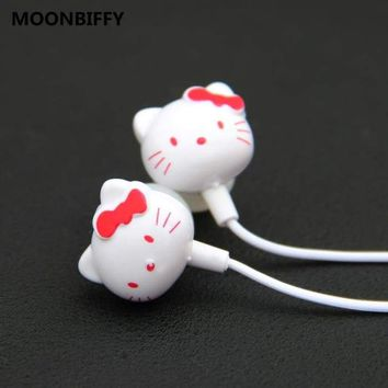 Cute Hello Kitty Cartoon In-Ear 3.5mm Earphone For Cell Phone Ipod For Samsung