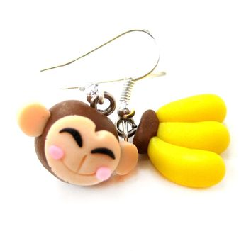 Monkey and Banana Shaped Polymer Clay Dangle Earrings | DOTOLY