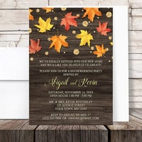Autumn Housewarming Invitations - Rustic Falling Leaves with Gold - Gold Glitter design Fall Housewarming - Printed Invitations