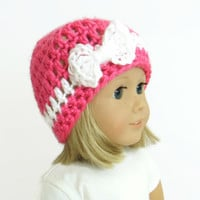 Pink Doll Hat - 18 Inch Doll Clothes - Knit Bow Beanie