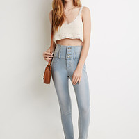 Buttoned High-Waisted Skinny Jeans