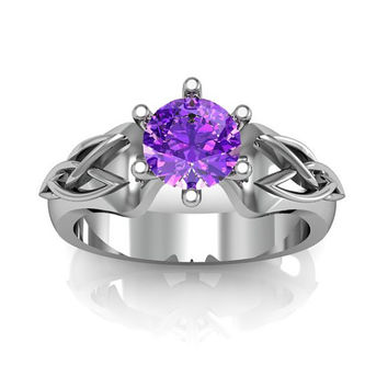 Sterling Silver Amethyst Celtic Knot  Love and Friendship Engagement and Promise Solitaire Ring