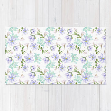 purple spring flowers Rug by sylviacookphotography