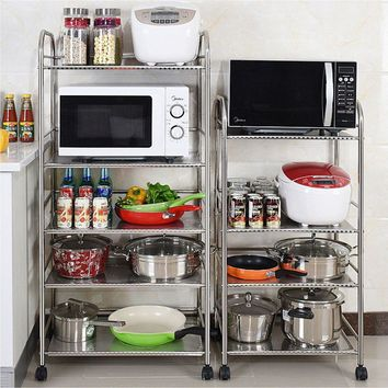 1/2/3/4 Tier Kitchen Baker's Microwave Oven Stand Storage Cart Workstation Shelf