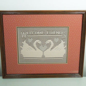 Vintage crochet welcome sign - Framed crochet welcome friends sign with geese love birds and hearts - Restaurant decor Country decor