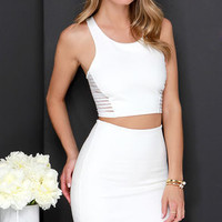 Beauty Unveiled Ivory Bodycon Two-Piece Dress